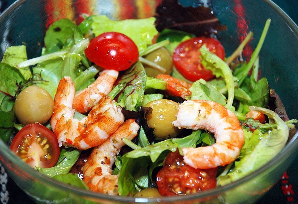 Простой салат с креветками рецепт с
