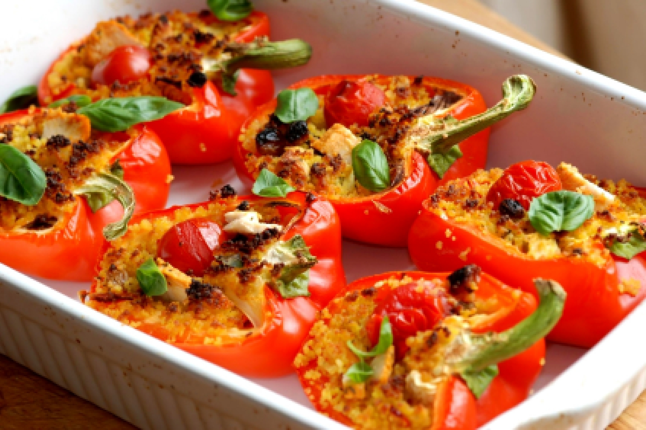 Перец фаршированный овощами в духовке