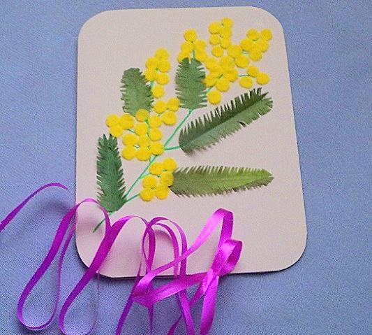 Для сестры, открытки к 8 марта своими руками в детском саду мимоза